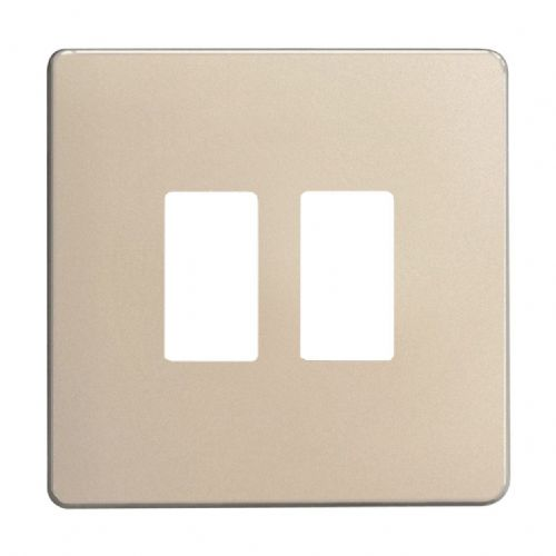 Varilight XDNPGY2S Screwless Satin Chrome 2 Gang Grid Plate (Single Plate)